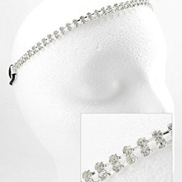 Women's Double Row Silver Tone Rhinestone Stretch Headband.