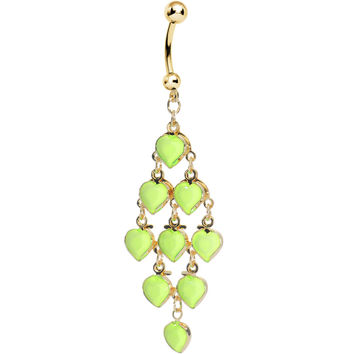 Gold Plated Faux Opaque Green Stone Hearts Chandelier Belly Ring