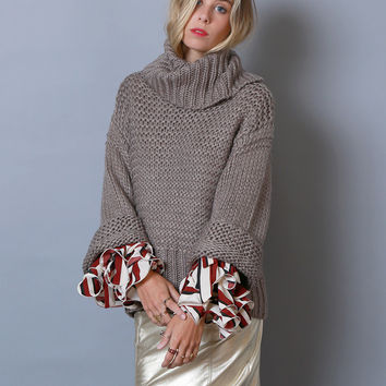 Look At Me Wide-Sleeve Sweater Top - Brown