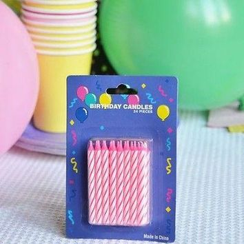 "48 Pink Candy Striped Birthday Candles 2"" Candle Stick Pink White Cake Topper"