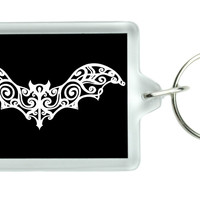 Gothic Wrought Iron Vampire Bat Keychain Dracula Key Ring