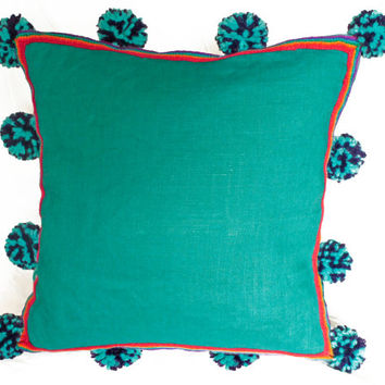 PERUVIAN CUSHION COVER - Turquoise Blue throw pillow, Peruvian ethnic cushion, boho decor, embroidered pillow, bohemian decor