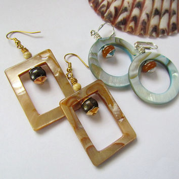Summer earrings, mother of pearl, tan, blue, orange brown stones, beach, geometric, two pairs