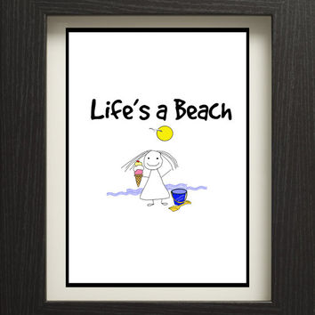 beach quote to print, printable beach digital download, lillypillyprint instant download, life's a beach poster.