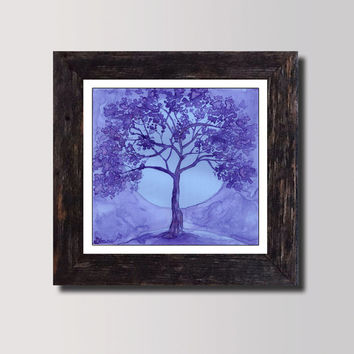 Purple Lilac Wall decor - Lavender Art Print  - Lilac night Landscape - Tree Blue Moon Watercolor  Painting