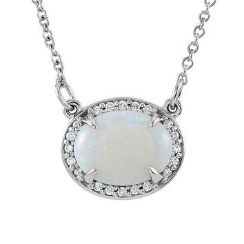 Oval White Opal & .05 Ctw Diamond 14k White Gold Necklace, 16.5 Inch