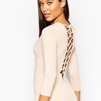 NaaNaa Lace Up Back Body With 3/4 Sleeve