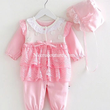 Baby Girl Clothes Lace Floral Infant Princess Jumpsuit Cotton Baby Romper With Hats for 0-12 Months 2PCS/Set BG109