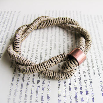 Hemp Cord Bracelet , Braided Stacking Bracelet, Coiled Rope Bracelet Bangle, Copper tube on Natural Hemp, Fiber jewelry