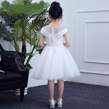 Little Princess White Prom Dresses Beaded Appliques Flower Girl Dress Tulle Girl Party Gown