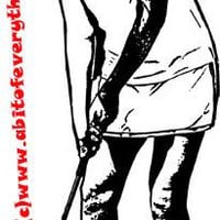 woman playing golf golfer sports printable art print clipart jpg png download digital image graphics digital stamp black & white