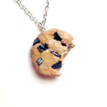 Half Bitten Chocolate Chip Cookie Necklace//Stocking Stuffers//Cyber Monday//Cute Food Jewelry
