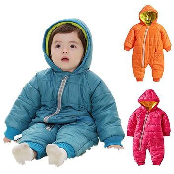 Snowsuit Baby Snow wear Cotton Padded One Piece Warm Outerwear Children's Overalls Romper Kids Winter Jumpsuit Newborn Parkas