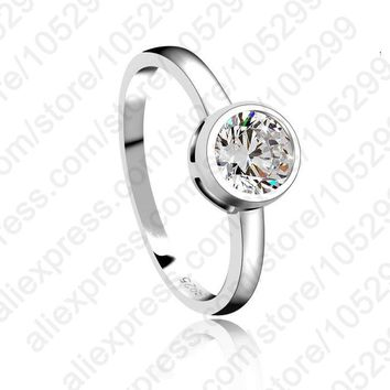 925 Sterling Silver Jewelry Woman Wedding Stone High Quality Crystal CZ Classic Ring