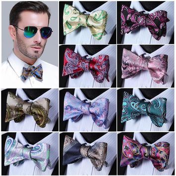 Paisley Floral 100%Silk Jacquard Woven Men Classic Wedding Butterfly Self Bow Tie BowTie C6