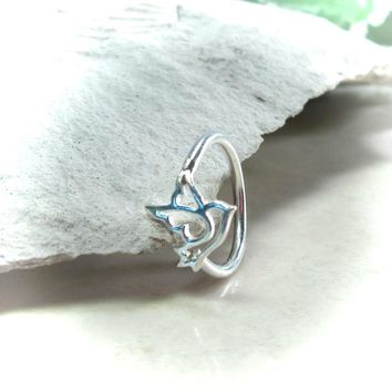 Cartilage Earring Deco Sterling Silver Dove
