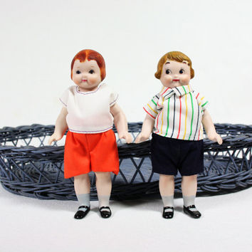 Vintage Small Bisque BSCO Dolls 1980, 1981, Hand Painted Excellent Condition