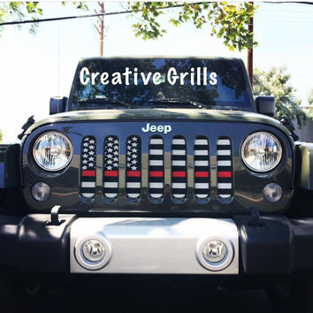 American Flag Red Line (Black & White) / Jeep Grill