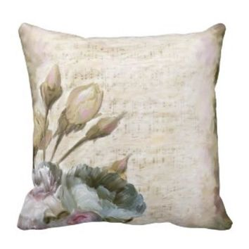 Floral Pillow with Musical Notes