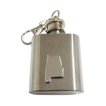 Alabama State Map Shape 1 Oz. Stainless Steel Key Chain Flask