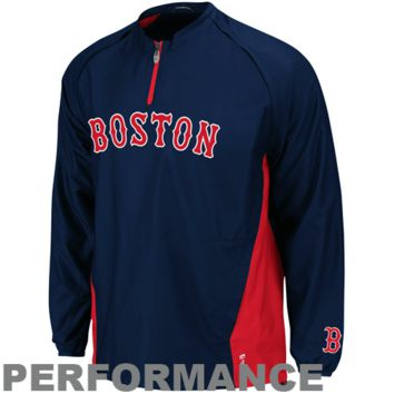 Majestic Boston Red Sox 2014 Authentic On-Field Cool Base Triple Peak Gamer Performance Jacket - Navy Blue/Red