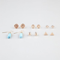 Full Tilt 6 Pairs Turquoise/Triangle/Disc Earrings Gold One Size For Women 24282462101