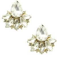 Clear Floral Crystal Cluster Clip On Earring