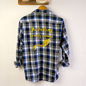 Glitter Flannel Shirt I'm Actually a Mermaid Sparkly Sea Shell Elbow Patch Boyfriend Flannel Womens Grunge Gift Ideas Her Gold Glitter Shirt