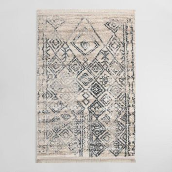 Ivory and Gray Diamond Moroccan Flokati Style Souk Area Rug