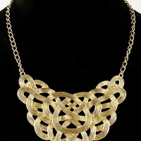 Gold Knot Layered Collar Necklace