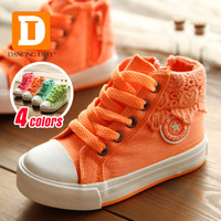 Colorful Lace Girls Shoes Kids New Spring Children Shoes 2016 Casual Princess Children Sneakers High Canvas Girls Sneakers 25-37