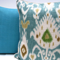 Ikat pillow  turquoise and white pillow by JoJosArtisticDesign