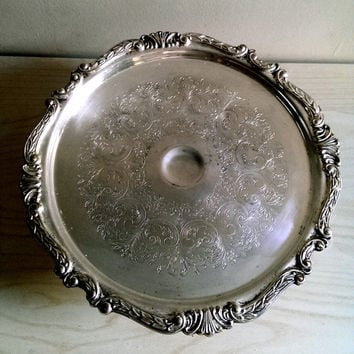 Vintage Sheridan Silver Plate Cake Stand/ Vintage Cake Stand/ Vintage Wedding Cake Stand