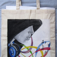Handpainted tote bag Music custom eco friendly bag