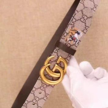PEAPNO New Men's Gucci Big GG Leather Tiger Belt Size 90/36