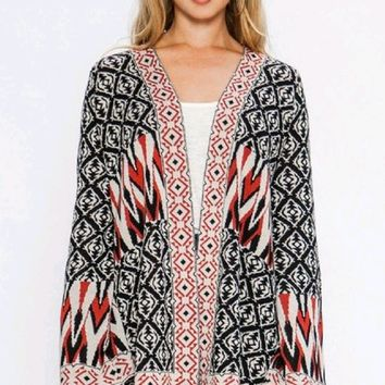 Instant Karma Multicolor Tribal Black Red Geometric Pattern Loose Long Bell Sleeve Open Front Cardigan Kimono