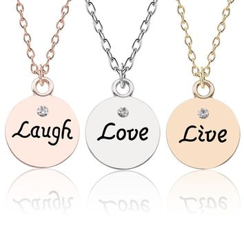 Trendy Best Friends Necklace For Women Letter Live Laugh Love Pendant BBF Couple's Necklaces&Pendants Lovers' Gift Drop Shipping