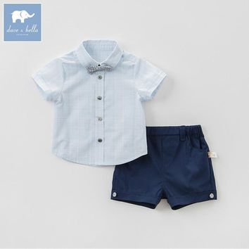 Dave bella baby clothing sets boys summer with tie suits children shirt+short 2 pcs sets toddler fashion outfits DB8272