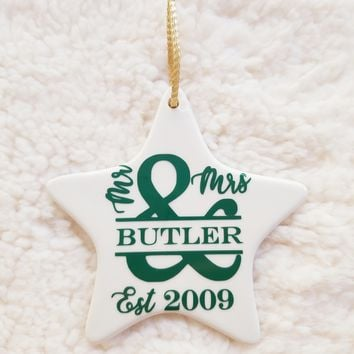 Couples Mr. and Mrs. Monogram Christmas Ornament
