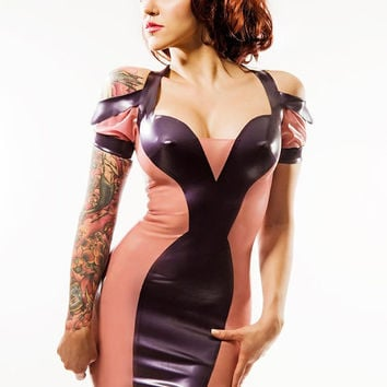 ESTER Latex Form Fitting Party Dress with the emphasis on Waist & Cleavage