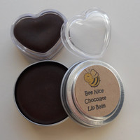 Natural chocolate lip balm, round tin, heart
