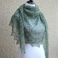 Knit shawl in olive green color, lace wrap, gift for her