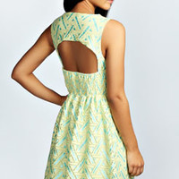 Ellie Metallic Jacquard Cut Out Skater Dress