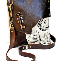 Mahogany Brown Leather Boho Messenger Bag with Crochet Doily and Antique Key - Medium One Of A Kind - MADE TO ORDER