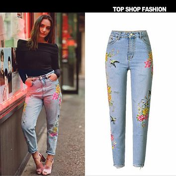 Women's 3D three-dimensional heavy bird flower front and rear embroidery high waist straight irregular jeans