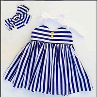 Girls Party Tutu Striped Halter Dress