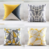 Yellow Geometric Decorative Cushion Cover Geometric Grey Throw Pillowcases Plaid Pillow flower Seat Chair Couch Pillows Sham