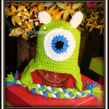 Crochet Kids Monster Hat, Monsters Inc Inspired Kids Hat, One Eyed Monster Childrens Hat, Mike Cap, Halloween Monster Hat