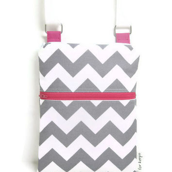 Grey Chevron pink sling purse cross body bag adjustable strap
