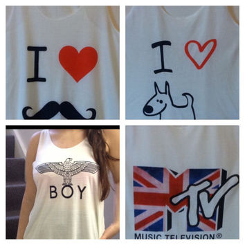 Boy  mtv i love dog  i love mustard tank tops vest by MTeverest